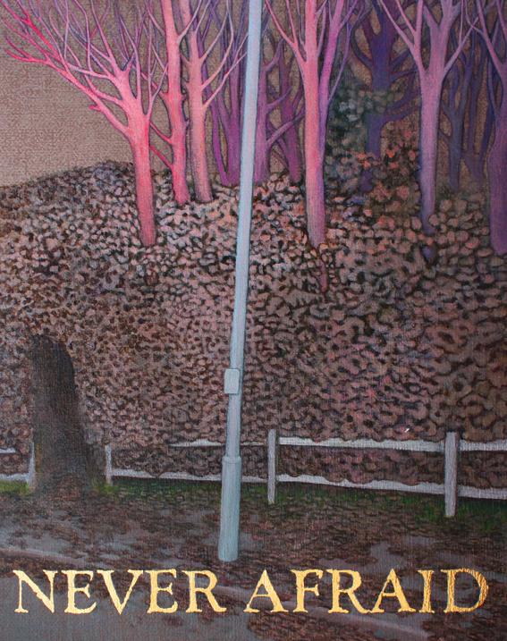 NEVER AFRAID Season II - Netherwood, Sarah Sparkes 2015, Acrylic and gold leaf